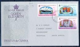 J526- Tristan Da Cunha 1977. 25th Anniv. Of The Reign Of Queen Elizabeth II, Ships. Flag. - Tristan Da Cunha