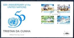 J533- Tristan Da Cunha 1996. 50th Anniversary Of United Nation. UNO. UN. Ship. Truck. Helicopter. - Tristan Da Cunha