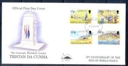 J548- Tristan Da Cunha 1995. 50th Anniversary Of The End Of World War II. Flag. Medal. Flowers. - Tristan Da Cunha