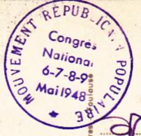 """Cachet Simple Couronne """" Mouvement Républicain Populaire, Congrès National 6.7.8.9. Mai 1948"""" Sur CP Toulouse - Autres"""