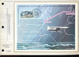 Feuillet CEF -- 1er Jour  --  N° 407  -- Traversee De L'Atlantique Nord Par Charles Lindbergh - 1970-1979