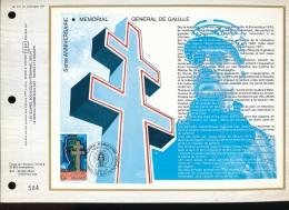 Feuillet CEF -- 1er Jour  --  N° 411 --  5 Eme Anniversaire  -- Memorial General De Gaulle   - 1977 - 1970-1979