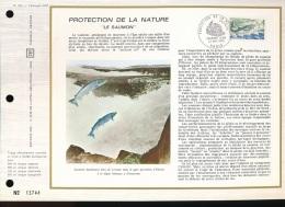 """Feuillet CEF -- 1er Jour  --  N° 202  -- Protection De La Nature """" Le Saumon """"  -- 1972 - FDC"""