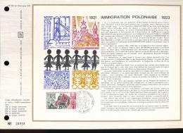 Feuillet CEF -- 1er Jour  --  N° 223  --  1921 -- Immigration Polonaise -1923 -- 1973 - FDC