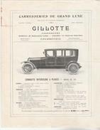 COURBEVOIE : Catalogue Du Carrossier GILLOTTE, 83 Bd St. Denis Pour Conduites Intérieures Et Fourgon. (4p.) - Colecciones