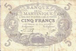 MARTINIQUE - 5 FRANCS L 1901 - Pick 6 (Série O.348) TB - Aruba (1986-...)