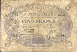 MARTINIQUE - 5 FRANCS L 1901 - Pick 6 (Série F.353) B+ - Aruba (1986-...)