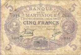 MARTINIQUE - 5 FRANCS L 1901 - Pick 6 (Série C.315) TB- - Aruba (1986-...)