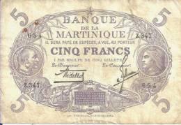 MARTINIQUE - 5 FRANCS L 1901 - Pick 6 (Série Z.347) TB - Aruba (1986-...)