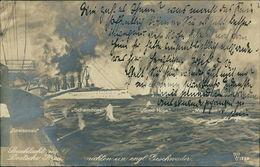 AK Seeschlacht Gneisenau, Scharnhorst, Good Hope, O 1915 (23710) - Warships