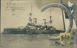 AK S. M. S. SMS Kaiser Karl Der Grosse, O 1910, Poststempel Durchgedrückt (23715) - Krieg