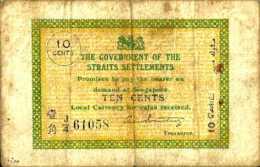 Straits Settlements 10 CENTS Pick 6c TTB- - Billets
