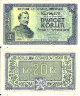 Tchécoslovaquie - Czecoslovakia 20 KORUN (1945) Pick 61s (3 Holes) UNC - Czechoslovakia