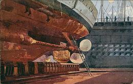 AK Schrauben Eines Kleinen Kreuzers Nach Aquarell Von Seeger, Ca. 1910er Jahre, Papierabschürfung Oberer Rand Re (23717) - Warships