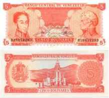 Venezuela 5 BOLIVARES 1989 - Pick 70b NEUF (UNC) - Venezuela