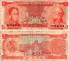 Venezuela 5 BOLIVARES 1989 - Pick 70b TB - Venezuela