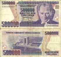 Turquie - Turkey 500 000 LIRA 1993 -  Pick 208 TB+ (Fine) - Turquie