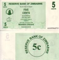 Zimbabwe 5 CENTS 2007 - Pick 34 NEUF (UNC) - Zimbabwe