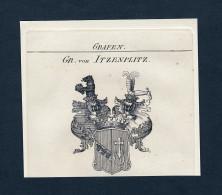 """""""Gr. Von Itzenplitz"""" - Itzenplitz Wappen Adel Coat Of Arms Kupferstich Antique Print Heraldry Heraldik - Estampes & Gravures"""