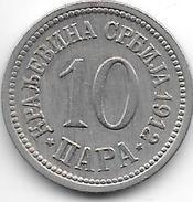 Serbia 10 Para  1912 Km 19   Xf - Serbie