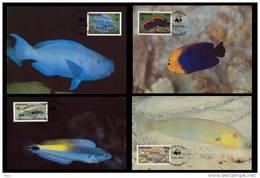 Grenada WWF W.W.F. 1984 Coral Reef Fish 4x Maxicards Maximum Cards Fishes Fauna - Maximum Cards