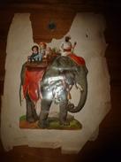 Année 1889 : Grd Chromo-découpi Pleine Page :BALLADE D'ENFANTS SUR UN ELEPHANT HINDOU AVEC SON CORNAC (23cm X 16cm; Etc - Victorian Die-cuts
