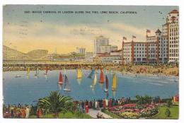 CALIFORNIA WATER CARNIVAL IN LAGOON ALONG THE PIKE - LONG BEACH 1934 VIAGGIATA FP - Long Beach
