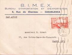 Maroc Enveloppe à En Tete BIMEX Du 7 Mai 1948 De Casablanca Pour Paris - Marokko (1891-1956)