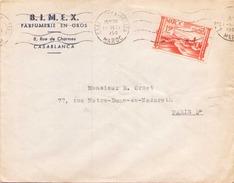 Maroc Enveloppe à En Tete BIMEX Du 1 Decembre 1950 De Casablanca Pour Paris - Marokko (1891-1956)
