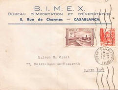 Maroc Enveloppe à En Tete BIMEX Du 14 Decembre 1949 De Casablanca Pour Paris - Marokko (1891-1956)