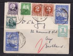 España 1937. Canarias. Carta De Tenerife A Ayr. Censura. - Marcas De Censura Nacional