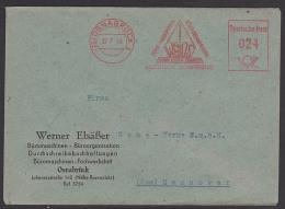 """OSNABRÜCK Absender-Freistempel 1948 """"Büro Machinen, Organisation Neuzeitliche Fachwerkstatt"""" - Bizone"""