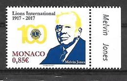 "Monaco 2017 - Yv N° 3095 ** - Centenaire Du ""Lions Club International"" -  Melvin Jones (Mi N° 3351) - Monaco"