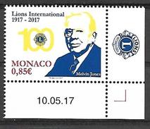 """Monaco 2017 - Yv N° 3095 ** - Centenaire Du """"Lions Club International"""" -  Melvin Jones (Mi N° 3351) - Coin Daté - Unused Stamps"""