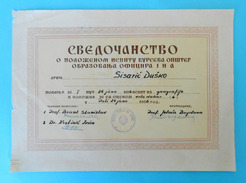 YUGOSLAVIA - JNA ARMY - Old Document SVEDOCANSTVO ( Pula 1956. ) * O Polozenom Ispitu Na Kursu Obrazovanja Oficira JNA - Documents