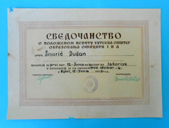 YUGOSLAVIA - JNA ARMY - Old Document SVEDOCANSTVO ( Rijeka 1955. ) * O Polozenom Ispitu Na Kursu Obrazovanja Oficira JNA - Army & War