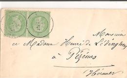 Pézenas: Lettre Du Second Empire Affranchie Avec 2 Timbres 5c Vert - Postmark Collection (Covers)