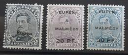 """Belgische Besetzung - Eupen Und Malmedy: 1920, Freimarken Von Belgien Mit Aufdruck """"Eupen"""" Bzw. """"Malmedy"""":  Siehe Scan - Zone Belge"""