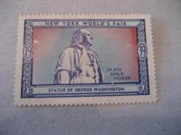 GEORGE WASHINGTON USA President Celebrities Celebrites NEW YORK FAIR 1939 Poster Stamp Label Vignette USA - George Washington