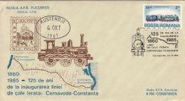 TRAINS, LOCOMOTIVE, CERNAVODA-CONSTANTA RAILWAY, SPECIAL COVER, 1985, ROMANIA - Trains
