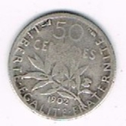 Moneda 50 Ctmes FRANCIA, Plata Ag, Semeuse 1902 º - G. 50 Céntimos