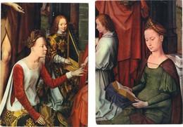 "2 Cartes Postales Neuves Du Tablea  "" Mariage Mystique De Sainte Catherine "" (détail) De Hans MEMLING (1433-1494) - Pintura & Cuadros"