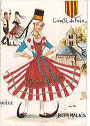 ARIEGE - COMTE DE FOIX  - LA BETHMALAISE - Très Belle Carte Brodée - Rare - écrite Au Verso - Costumes