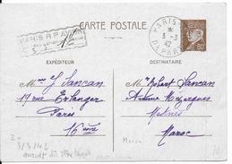 1942 - CARTE ENTIER TYPE PETAIN Avec TAXE PERCUE Par AVION De PARIS => MEKNES (MAROC) - Postal Stamped Stationery