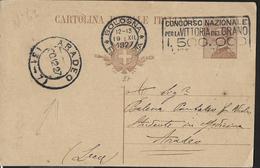 """STORIA POSTALE REGNO - ANNULLO FRAZIONARIO ARADEO 31-7 SU INTERO MICHETTI 1927 ANNULLO A TARGHETTA""""CONCORSO...."""" - Poststempel"""