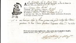 """Mars 1791 - ALUN De ROME - Connaissement  Tartane """"Saint Michel""""  Avec Lettre D'accompagnement - Documents Historiques"""