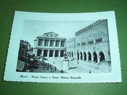 Cartolina Rimini - Piazza Cavour E Teatro Vittorio Emanuele 1954 - Rimini
