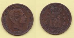 5 Centimos 1878 Spagna España Spain - [ 1] …-1931 : Regno