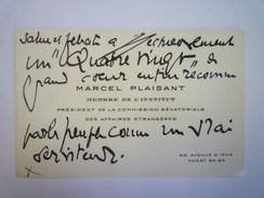 CARTE De VISITE De Marcel  PLAISANT   Membre De L'Institut  -  Président De La Commission Sénatoriale Des Affaires .... - Cartes De Visite