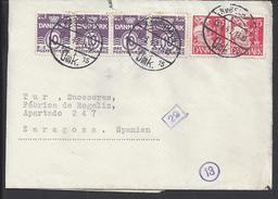 DANEMARK - 1942 - Affr. à 70 Ore Sur Enveloppe De Copenhague Pour Zaragoza (ESP) Avec Double Contrôle De Censure - - 1913-47 (Christian X)